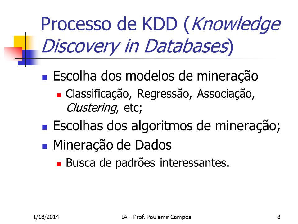 1/18/2014IA - Prof. Paulemir Campos39 K-Means - Exemplo