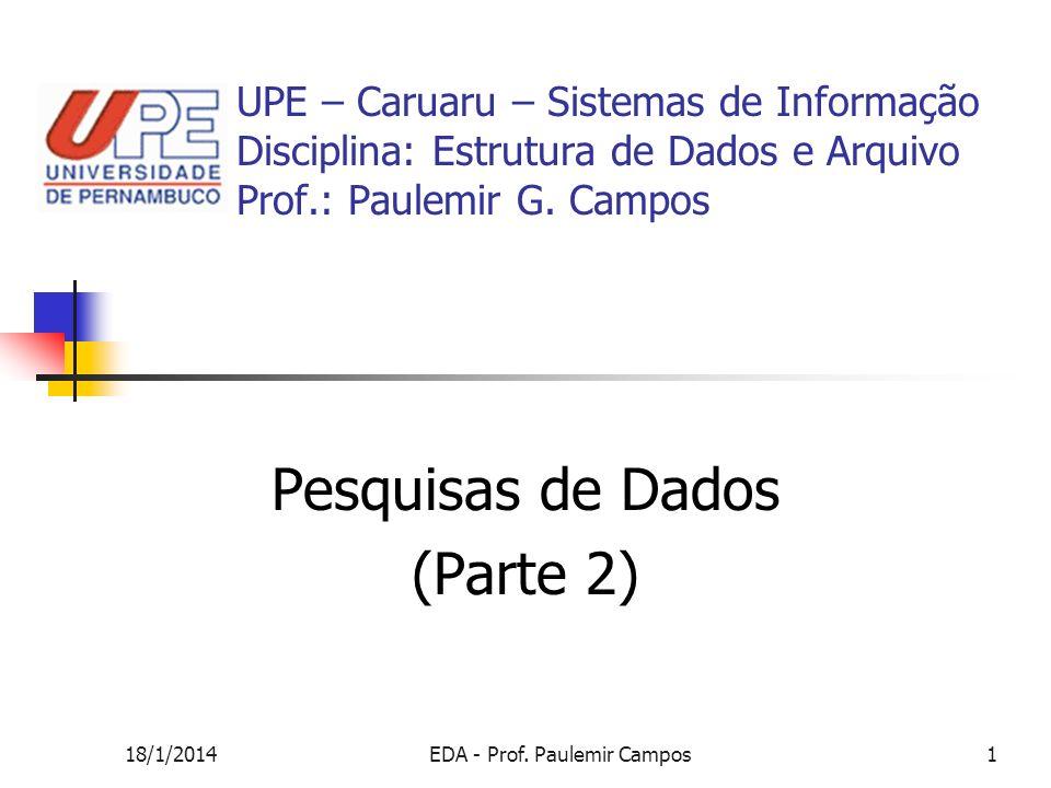 18/1/2014EDA - Prof. Paulemir Campos1 Pesquisas de Dados (Parte 2) UPE – Caruaru – Sistemas de Informação Disciplina: Estrutura de Dados e Arquivo Pro