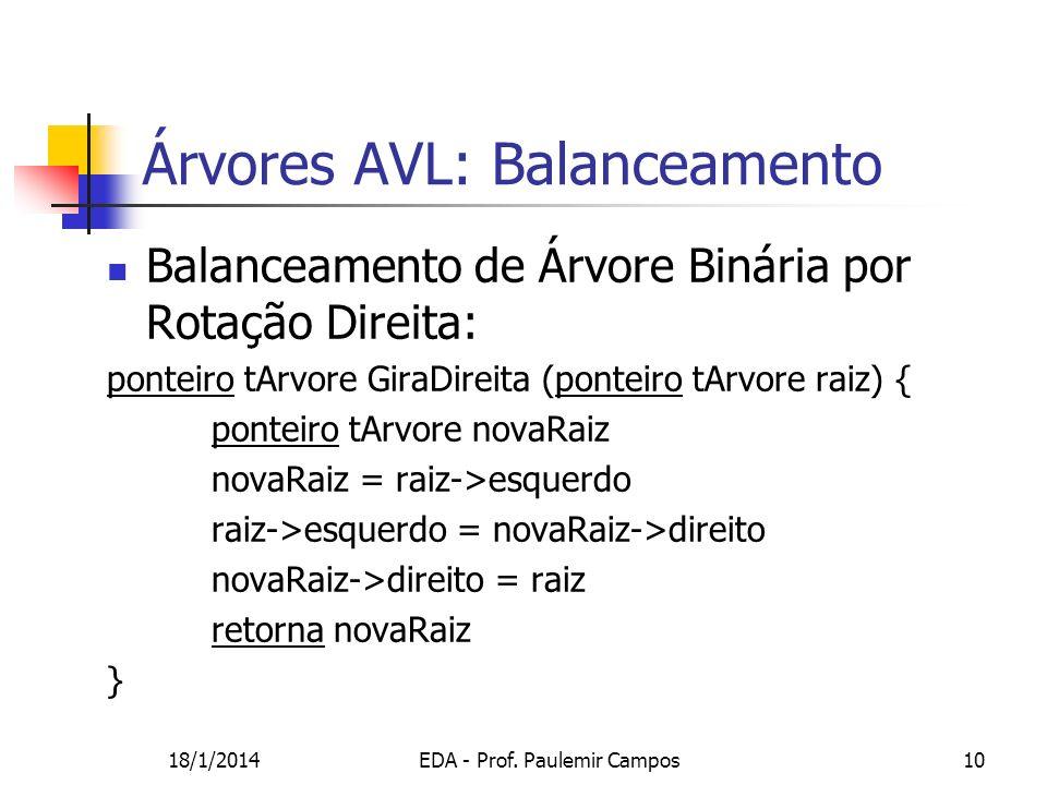 18/1/2014EDA - Prof. Paulemir Campos10 Árvores AVL: Balanceamento Balanceamento de Árvore Binária por Rotação Direita: ponteiro tArvore GiraDireita (p