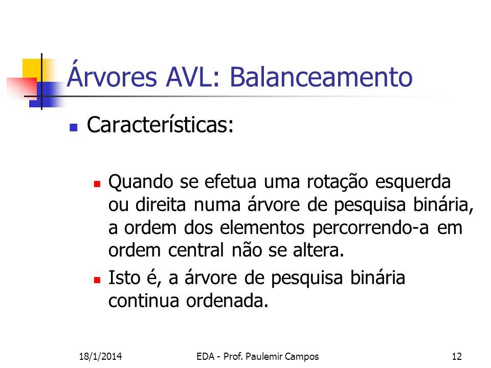 18/1/2014EDA - Prof. Paulemir Campos12 Árvores AVL: Balanceamento Características: Quando se efetua uma rotação esquerda ou direita numa árvore de pes
