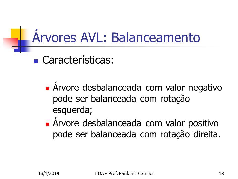 18/1/2014EDA - Prof. Paulemir Campos13 Árvores AVL: Balanceamento Características: Árvore desbalanceada com valor negativo pode ser balanceada com rot