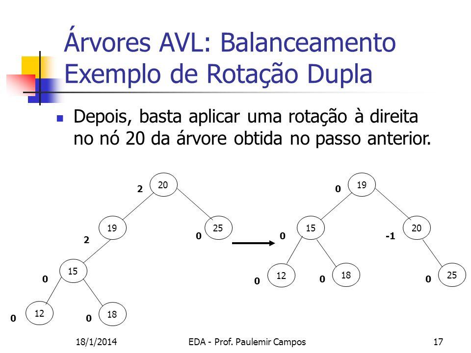 18/1/2014EDA - Prof. Paulemir Campos17 Depois, basta aplicar uma rotação à direita no nó 20 da árvore obtida no passo anterior. 19 20 18 15 0 0 0 20 2