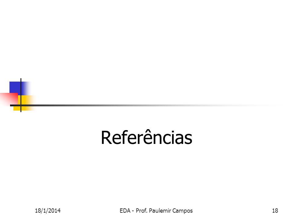 Referências 18/1/2014EDA - Prof. Paulemir Campos18