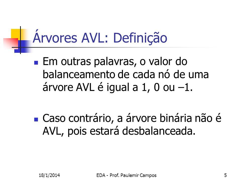 18/1/2014EDA - Prof. Paulemir Campos5 Em outras palavras, o valor do balanceamento de cada nó de uma árvore AVL é igual a 1, 0 ou –1. Caso contrário,