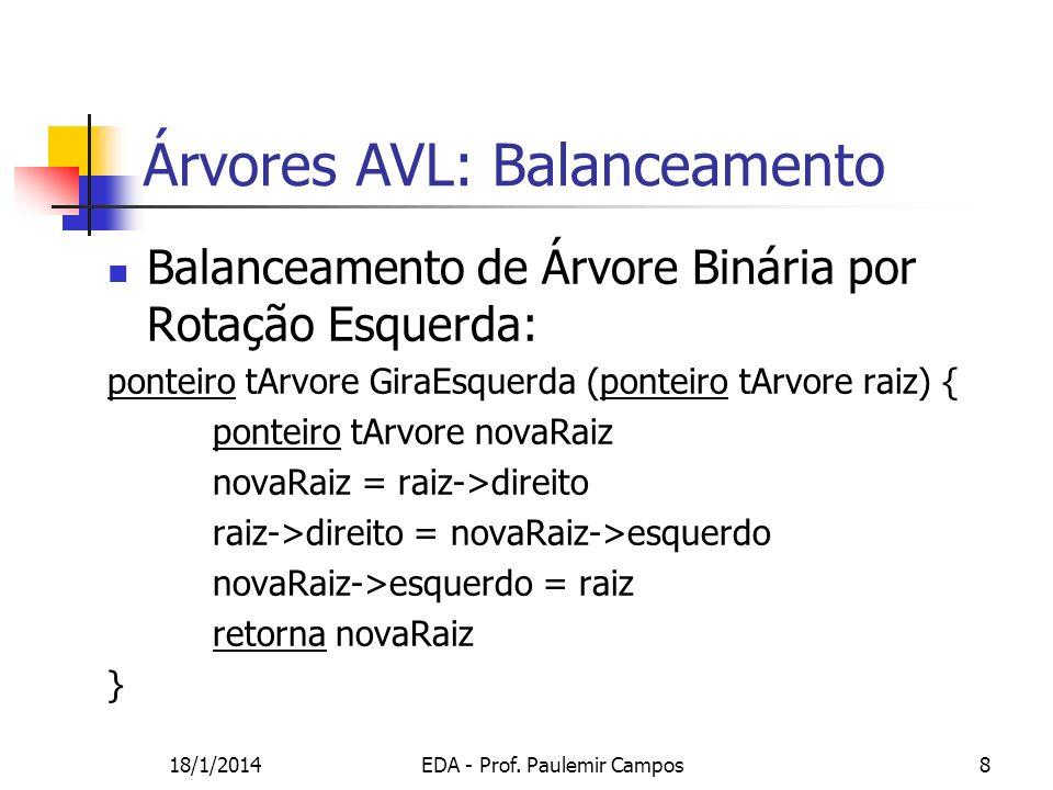 18/1/2014EDA - Prof. Paulemir Campos8 Balanceamento de Árvore Binária por Rotação Esquerda: ponteiro tArvore GiraEsquerda (ponteiro tArvore raiz) { po