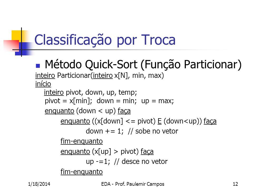 1/18/2014EDA - Prof. Paulemir Campos12 Classificação por Troca Método Quick-Sort (Função Particionar) inteiro Particionar(inteiro x[N], min, max) iníc