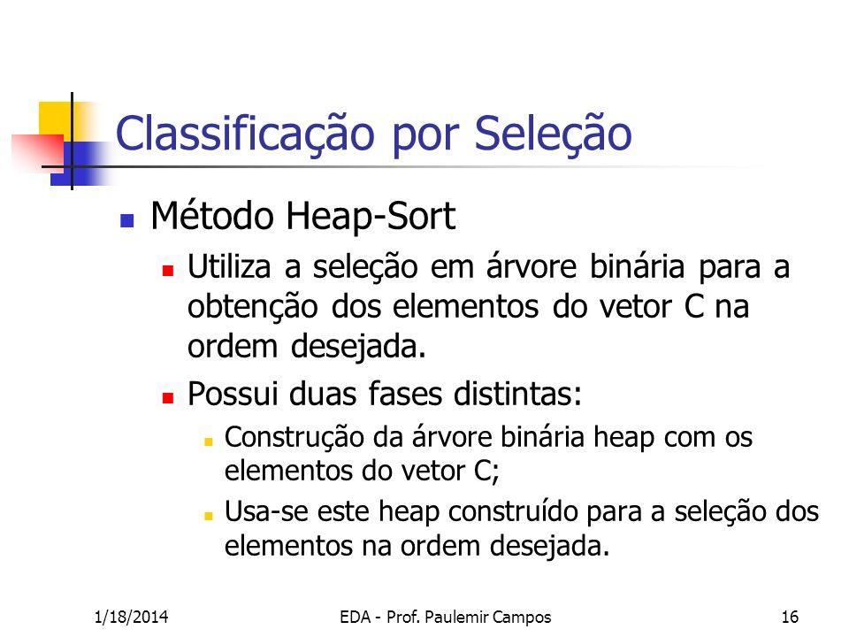 1/18/2014EDA - Prof. Paulemir Campos16 Classificação por Seleção Método Heap-Sort Utiliza a seleção em árvore binária para a obtenção dos elementos do