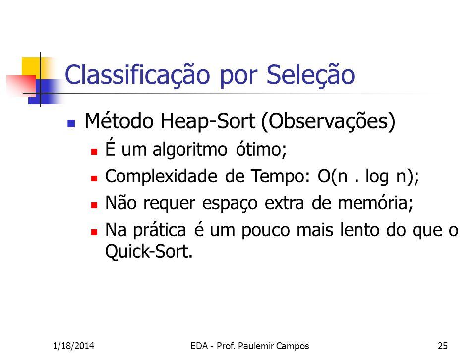 1/18/2014EDA - Prof. Paulemir Campos25 Classificação por Seleção Método Heap-Sort (Observações) É um algoritmo ótimo; Complexidade de Tempo: O(n. log