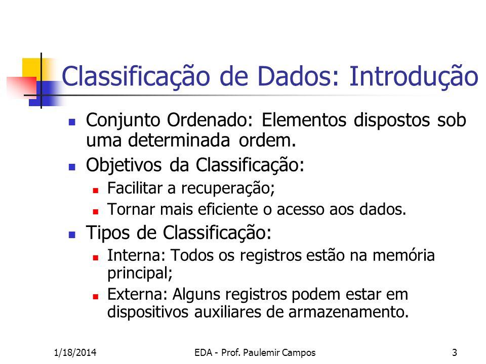 1/18/2014EDA - Prof. Paulemir Campos3 Classificação de Dados: Introdução Conjunto Ordenado: Elementos dispostos sob uma determinada ordem. Objetivos d