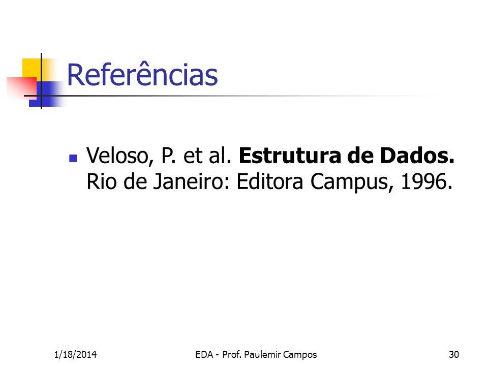 1/18/2014EDA - Prof. Paulemir Campos30 Veloso, P. et al. Estrutura de Dados. Rio de Janeiro: Editora Campus, 1996. Referências