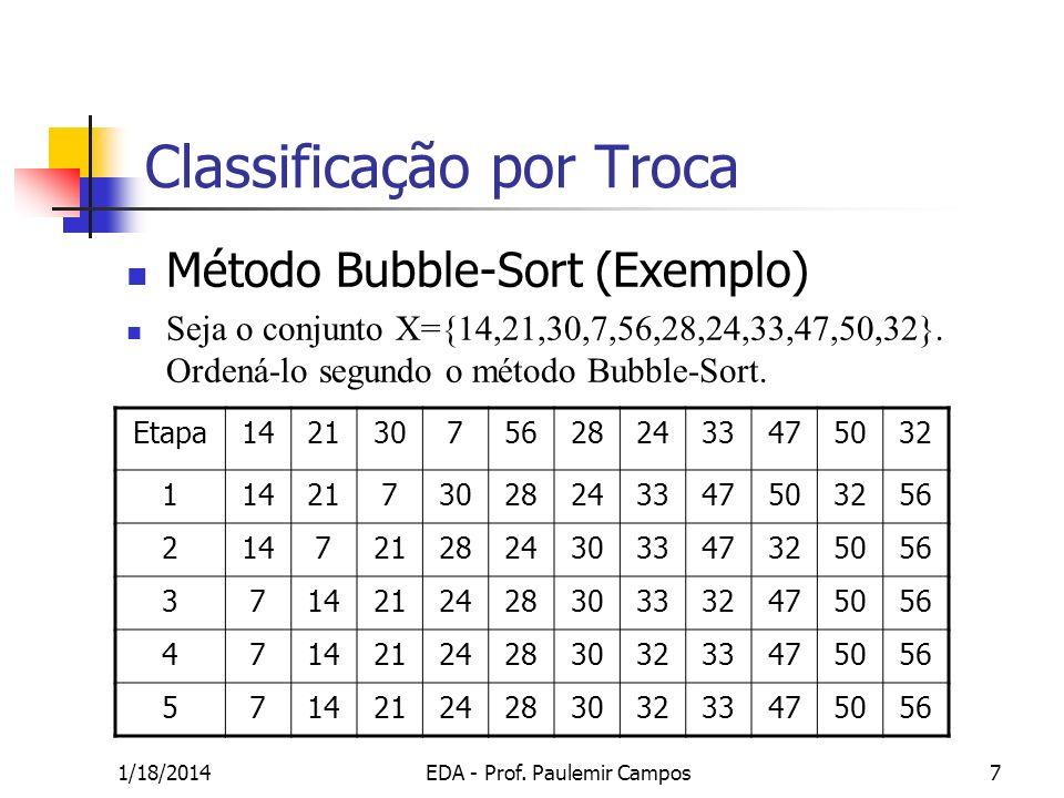 1/18/2014EDA - Prof. Paulemir Campos7 Classificação por Troca Método Bubble-Sort (Exemplo) Seja o conjunto X={14,21,30,7,56,28,24,33,47,50,32}. Ordená