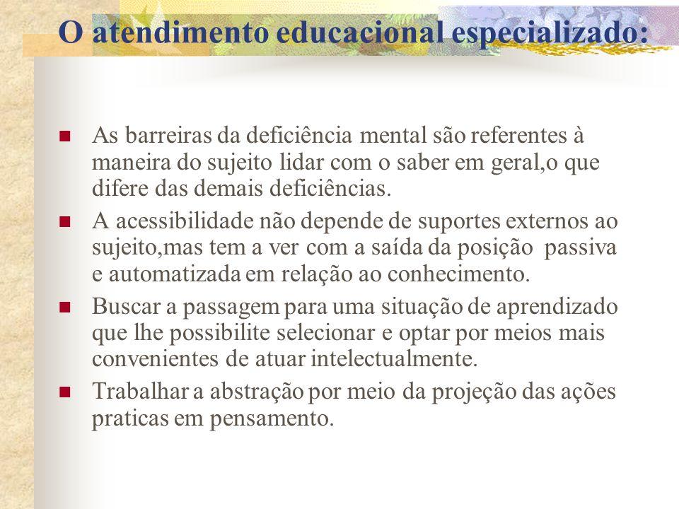 O atendimento educacional especializado: As barreiras da deficiência mental são referentes à maneira do sujeito lidar com o saber em geral,o que difer
