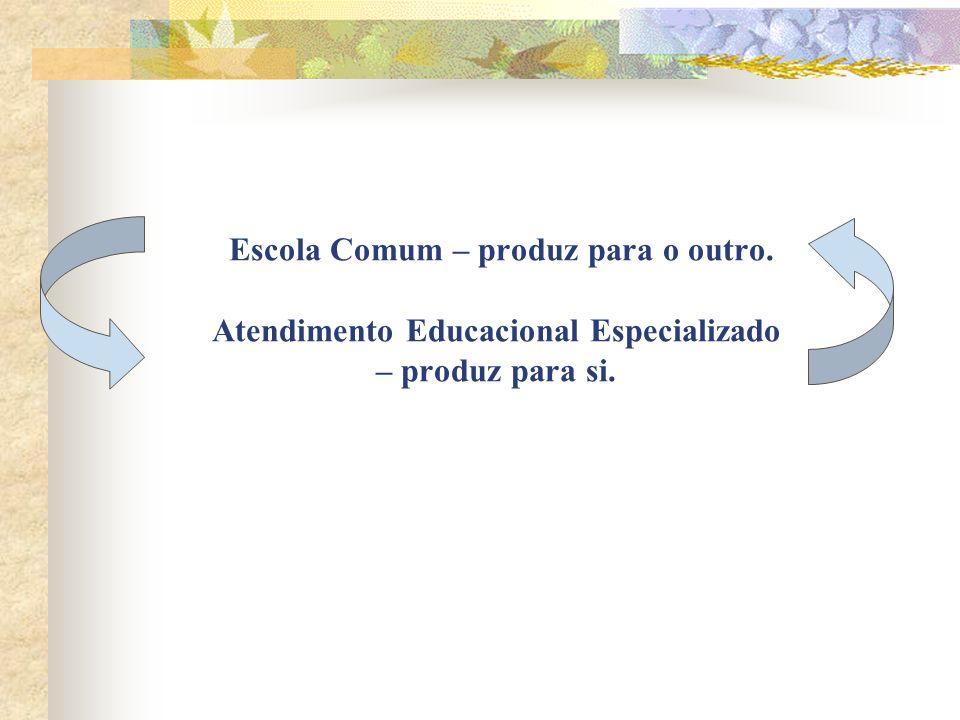 Escola Comum – produz para o outro. Atendimento Educacional Especializado – produz para si.