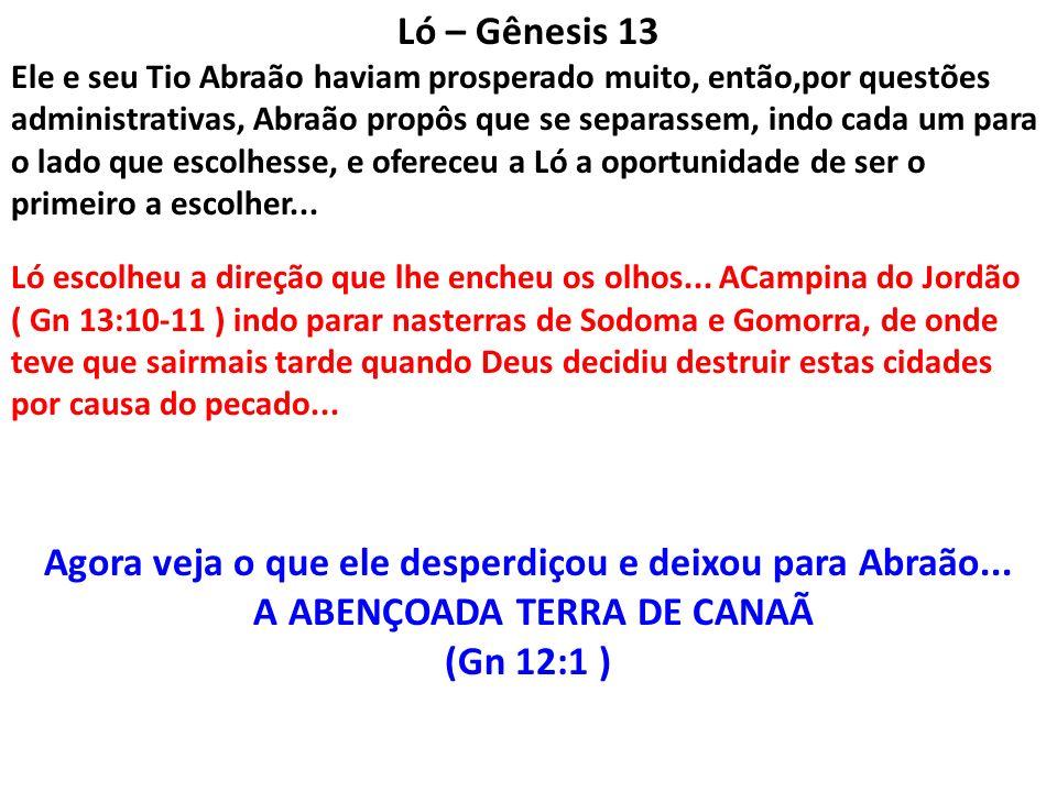 Ló – Gênesis 13 Ele e seu Tio Abraão haviam prosperado muito, então,por questões administrativas, Abraão propôs que se separassem, indo cada um para o