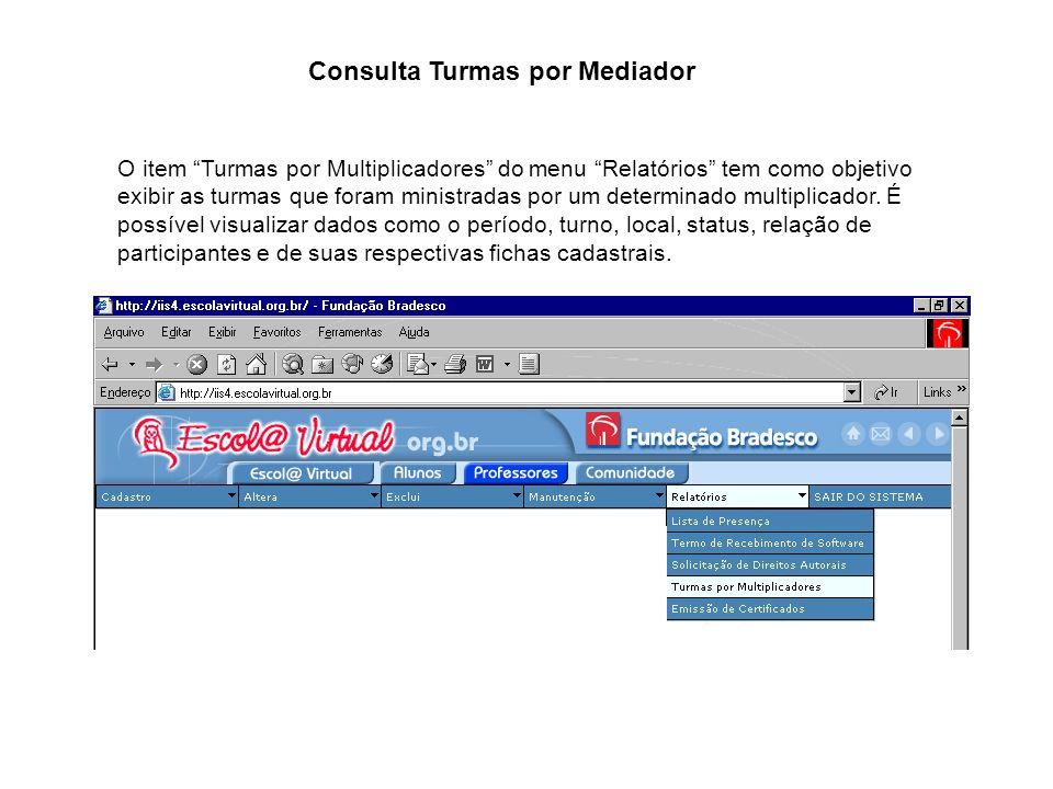 O item Turmas por Multiplicadores do menu Relatórios tem como objetivo exibir as turmas que foram ministradas por um determinado multiplicador. É poss