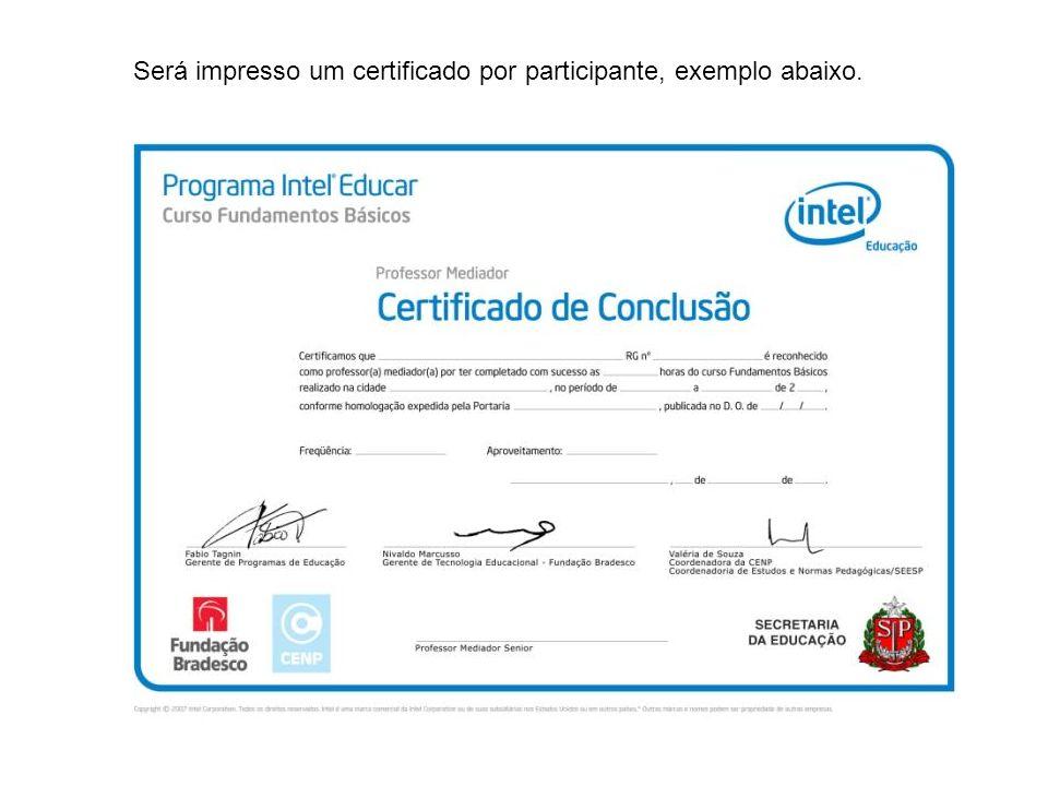 Será impresso um certificado por participante, exemplo abaixo.