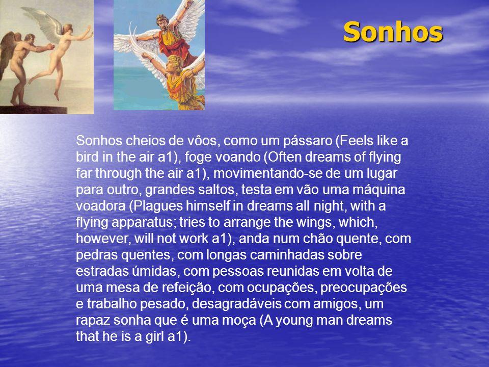 Sonhos Sonhos cheios de vôos, como um pássaro (Feels like a bird in the air a1), foge voando (Often dreams of flying far through the air a1), moviment