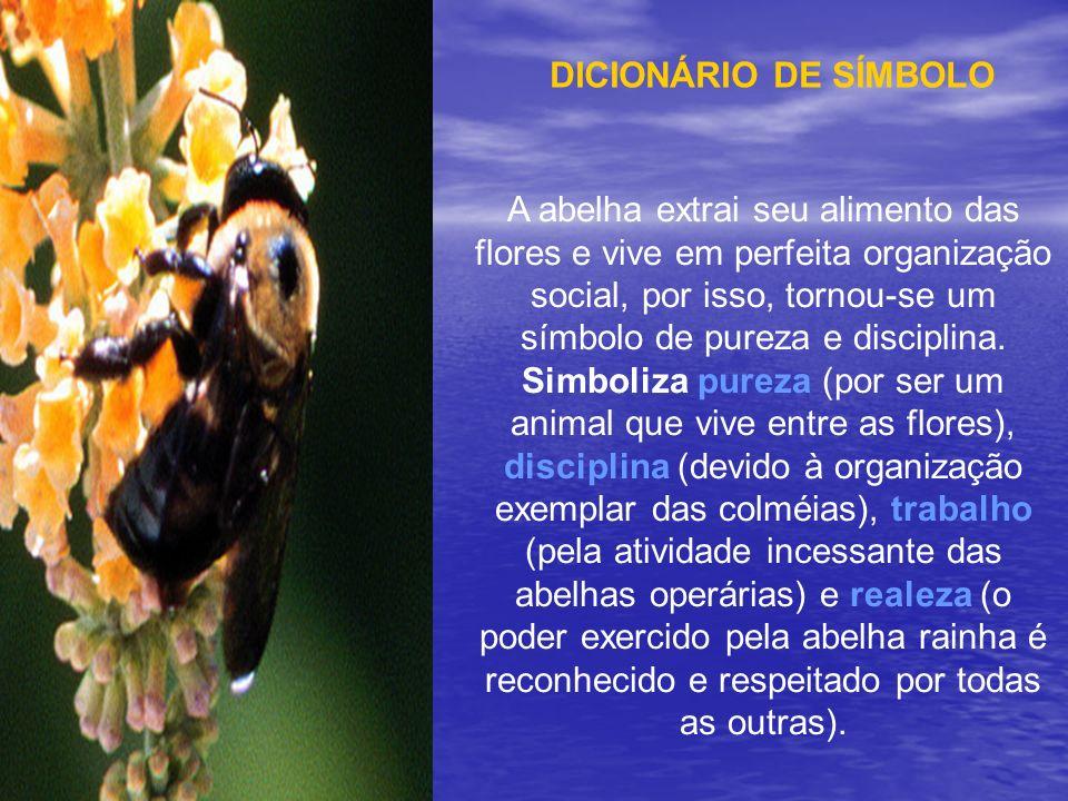 A abelha extrai seu alimento das flores e vive em perfeita organização social, por isso, tornou-se um símbolo de pureza e disciplina. Simboliza pureza