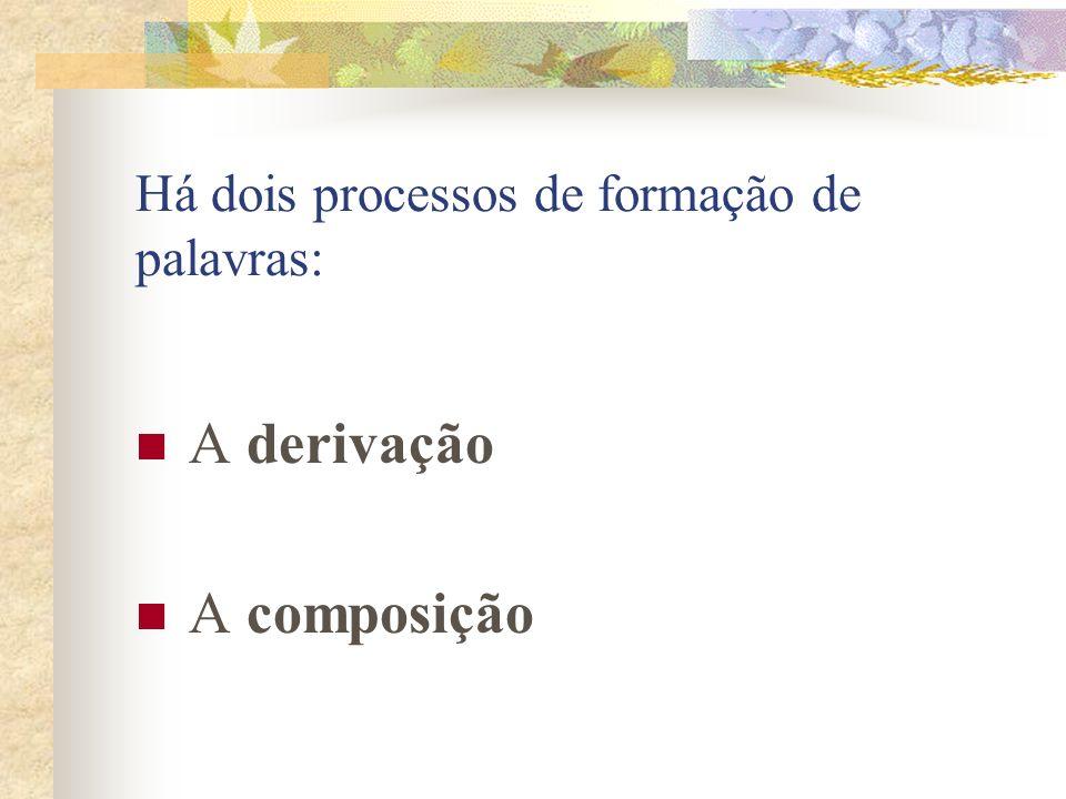 Há dois processos de formação de palavras: A derivação A composição