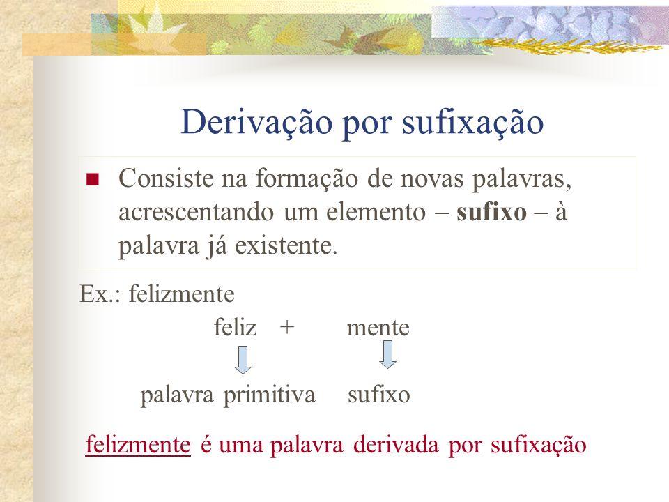 Derivação por sufixação Consiste na formação de novas palavras, acrescentando um elemento – sufixo – à palavra já existente. Ex.: felizmente feliz+men