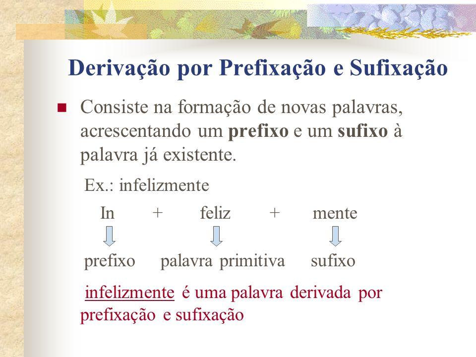 Derivação por Prefixação e Sufixação Consiste na formação de novas palavras, acrescentando um prefixo e um sufixo à palavra já existente. infelizmente