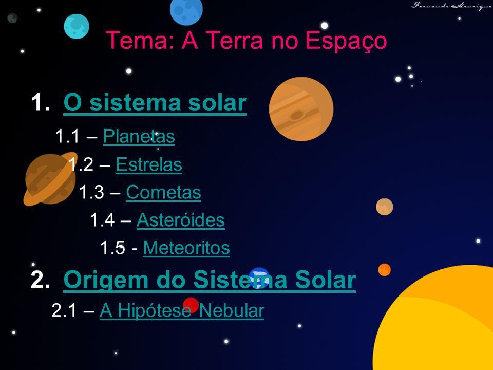 Tema: A Terra no Espaço 1.O sistema solarO sistema solar 1.1 – PlanetasPlanetas 1.2 – EstrelasEstrelas 1.3 – CometasCometas 1.4 – AsteróidesAsteróides