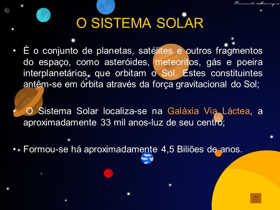 O SISTEMA SOLAR É o conjunto de planetas, satélites e outros fragmentos do espaço, como asteróides, meteoritos, gás e poeira interplanetários, que orb