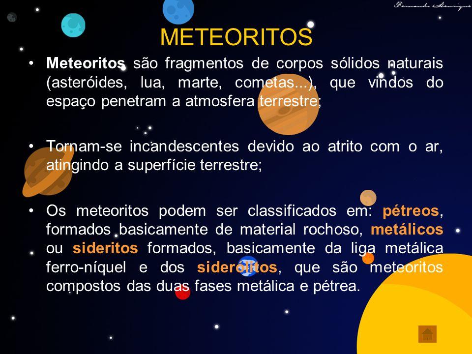 METEORITOS Meteoritos são fragmentos de corpos sólidos naturais (asteróides, lua, marte, cometas...), que vindos do espaço penetram a atmosfera terres