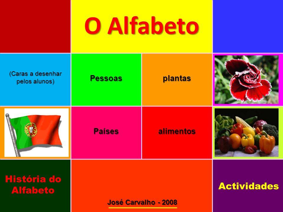 O Alfabeto O Alfabeto (Caras a desenhar pelos alunos) Pessoasplantas Paísesalimentos José Carvalho - 2008 História do Alfabeto Actividades