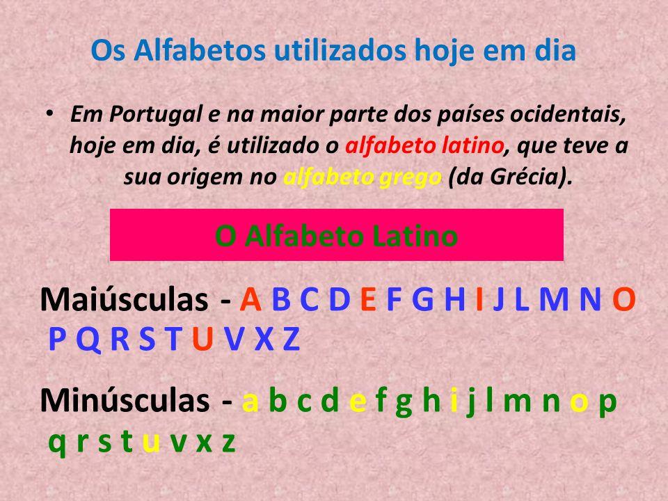 Os Alfabetos utilizados hoje em dia Em Portugal e na maior parte dos países ocidentais, hoje em dia, é utilizado o alfabeto latino, que teve a sua ori