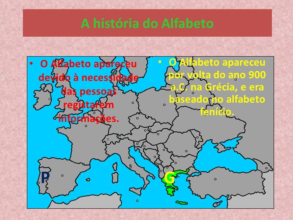 Onde se situa a Grécia? P G A história do Alfabeto O Alfabeto apareceu devido à necessidade das pessoas registarem informações. O Alfabeto apareceu po