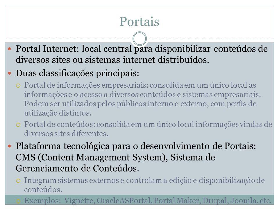 Portais Portal Internet: local central para disponibilizar conteúdos de diversos sites ou sistemas internet distribuídos. Duas classificações principa