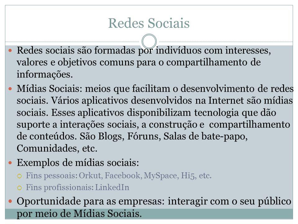 Redes Sociais Redes sociais são formadas por indivíduos com interesses, valores e objetivos comuns para o compartilhamento de informações. Mídias Soci