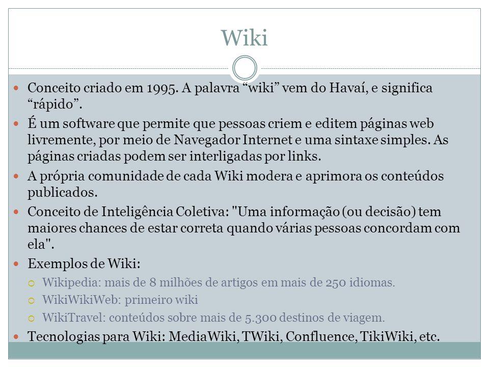 Wiki Conceito criado em 1995. A palavra wiki vem do Havaí, e significa rápido. É um software que permite que pessoas criem e editem páginas web livrem