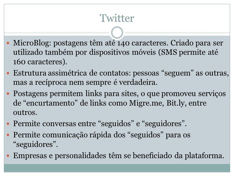 Twitter MicroBlog: postagens têm até 140 caracteres. Criado para ser utilizado também por dispositivos móveis (SMS permite até 160 caracteres). Estrut