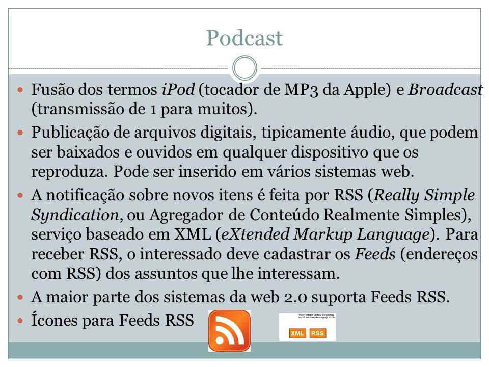 Podcast Fusão dos termos iPod (tocador de MP3 da Apple) e Broadcast (transmissão de 1 para muitos). Publicação de arquivos digitais, tipicamente áudio