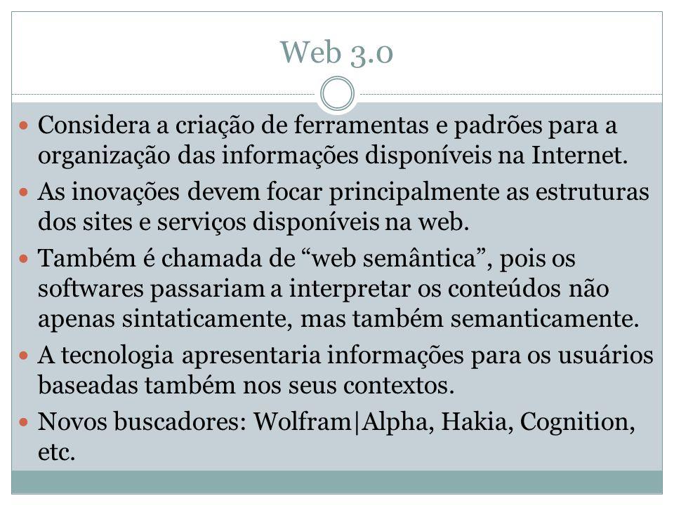 Web 3.0 Considera a criação de ferramentas e padrões para a organização das informações disponíveis na Internet. As inovações devem focar principalmen