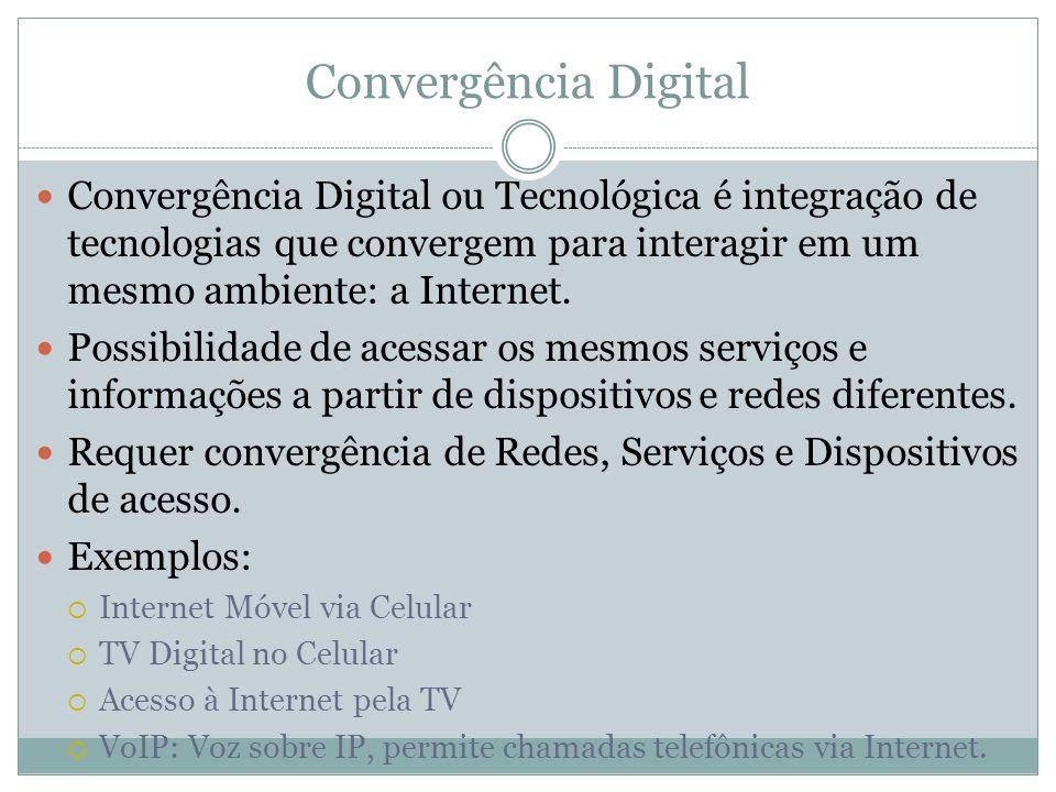 Convergência Digital Convergência Digital ou Tecnológica é integração de tecnologias que convergem para interagir em um mesmo ambiente: a Internet. Po