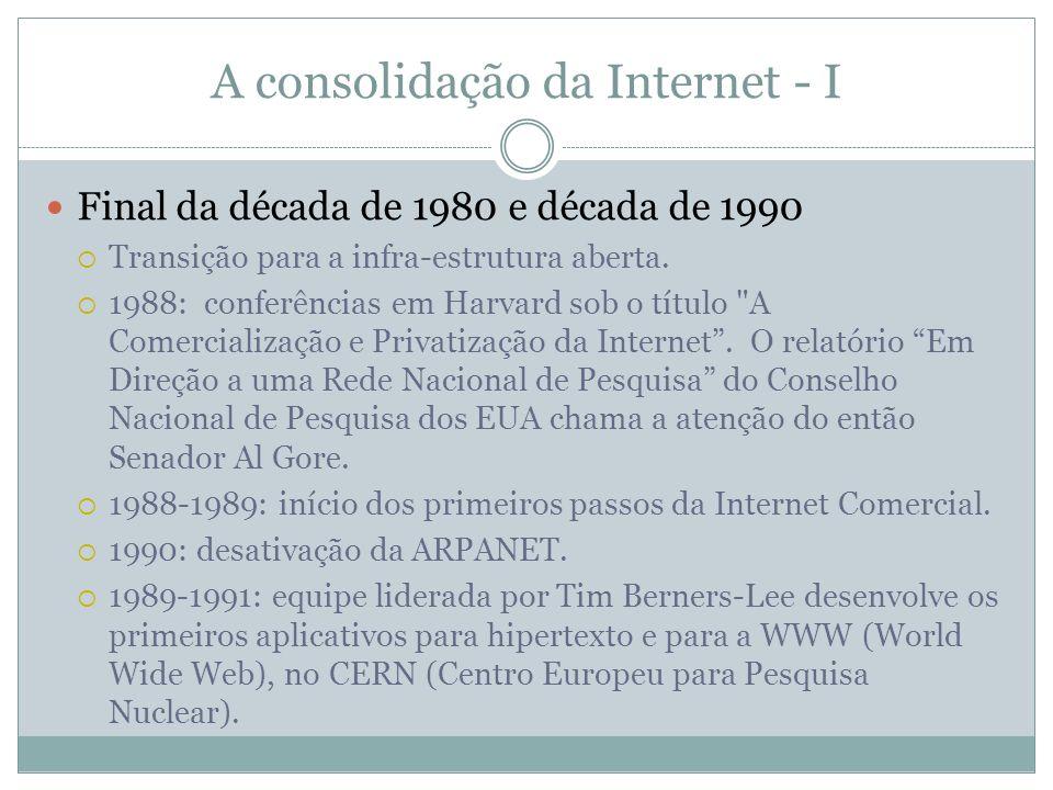 A consolidação da Internet - II Década de 1990 1994: relatório Fazendo Idéia do Futuro da Informação: a Internet e Além também do Conselho Nacional de Pesquisa dos EUA discute questões como direitos da pripriedade intelectual, ética, preços, educação, arquitetura e regulamentação da Internet.