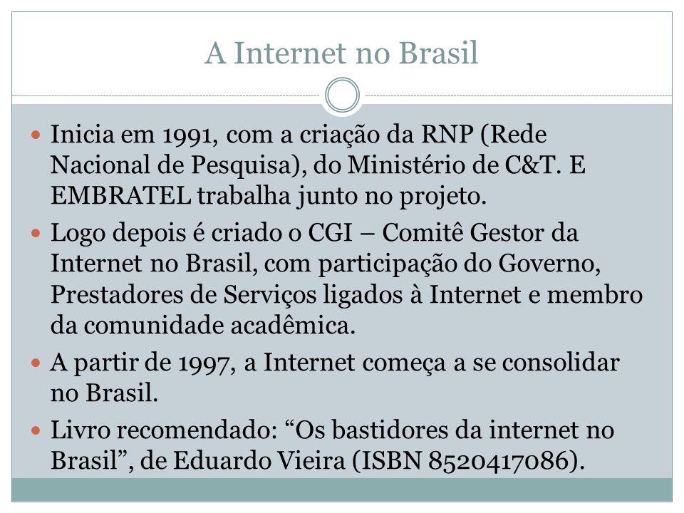 A Internet no Brasil Inicia em 1991, com a criação da RNP (Rede Nacional de Pesquisa), do Ministério de C&T. E EMBRATEL trabalha junto no projeto. Log