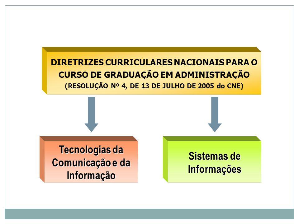 DIRETRIZES CURRICULARES NACIONAIS PARA O CURSO DE GRADUAÇÃO EM ADMINISTRAÇÃO (RESOLUÇÃO Nº 4, DE 13 DE JULHO DE 2005 do CNE) Tecnologias da Comunicaçã