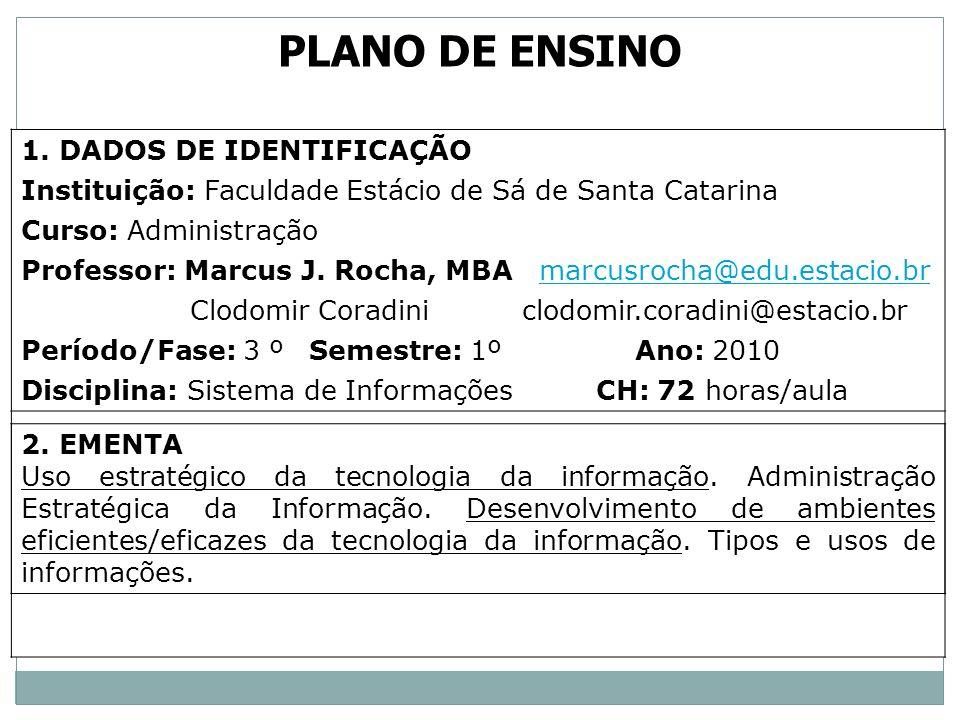 1. DADOS DE IDENTIFICAÇÃO Instituição: Faculdade Estácio de Sá de Santa Catarina Curso: Administração Professor: Marcus J. Rocha, MBA marcusrocha@edu.