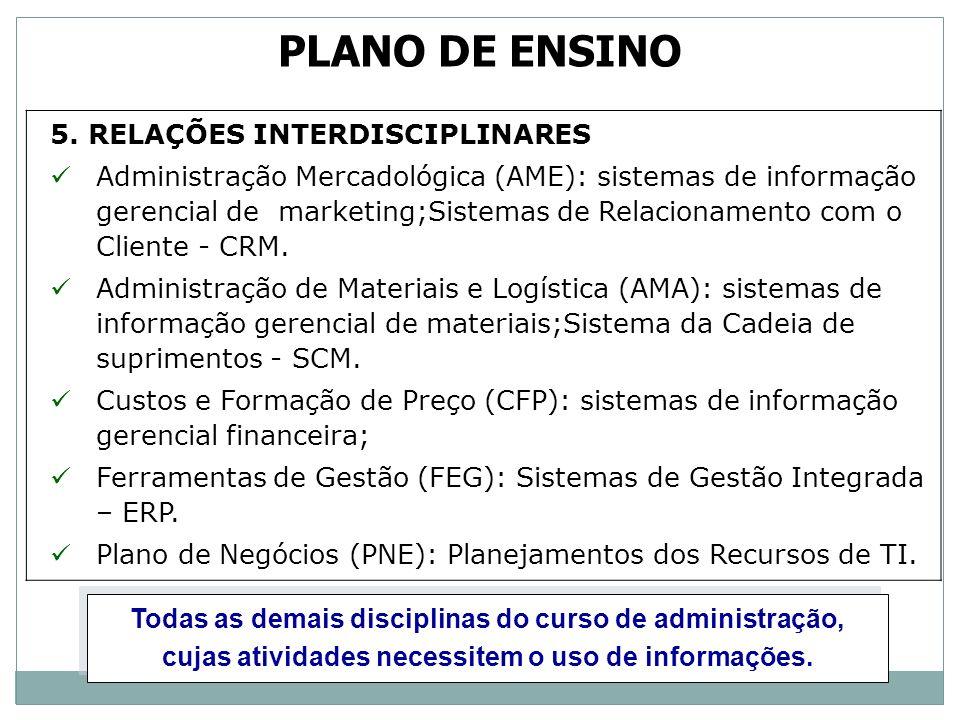 5. RELAÇÕES INTERDISCIPLINARES Administração Mercadológica (AME): sistemas de informação gerencial de marketing;Sistemas de Relacionamento com o Clien