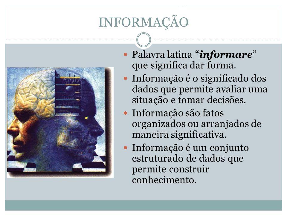 INFORMAÇÃO Palavra latina informare que significa dar forma. Informação é o significado dos dados que permite avaliar uma situação e tomar decisões. I