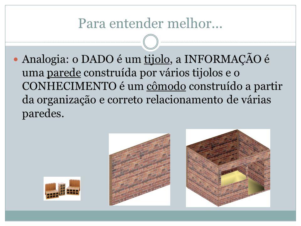 Para entender melhor... Analogia: o DADO é um tijolo, a INFORMAÇÃO é uma parede construída por vários tijolos e o CONHECIMENTO é um cômodo construído