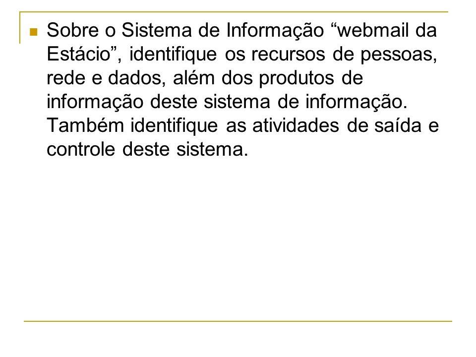 Sobre o Sistema de Informação webmail da Estácio, identifique os recursos de pessoas, rede e dados, além dos produtos de informação deste sistema de informação.
