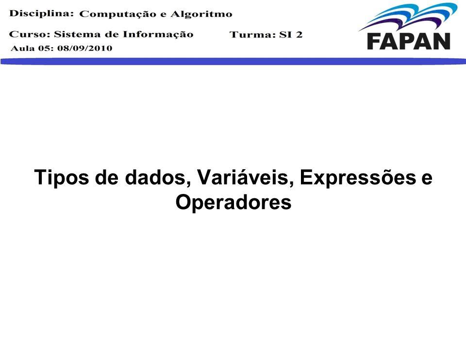 Tipos de dados, Variáveis, Expressões e Operadores