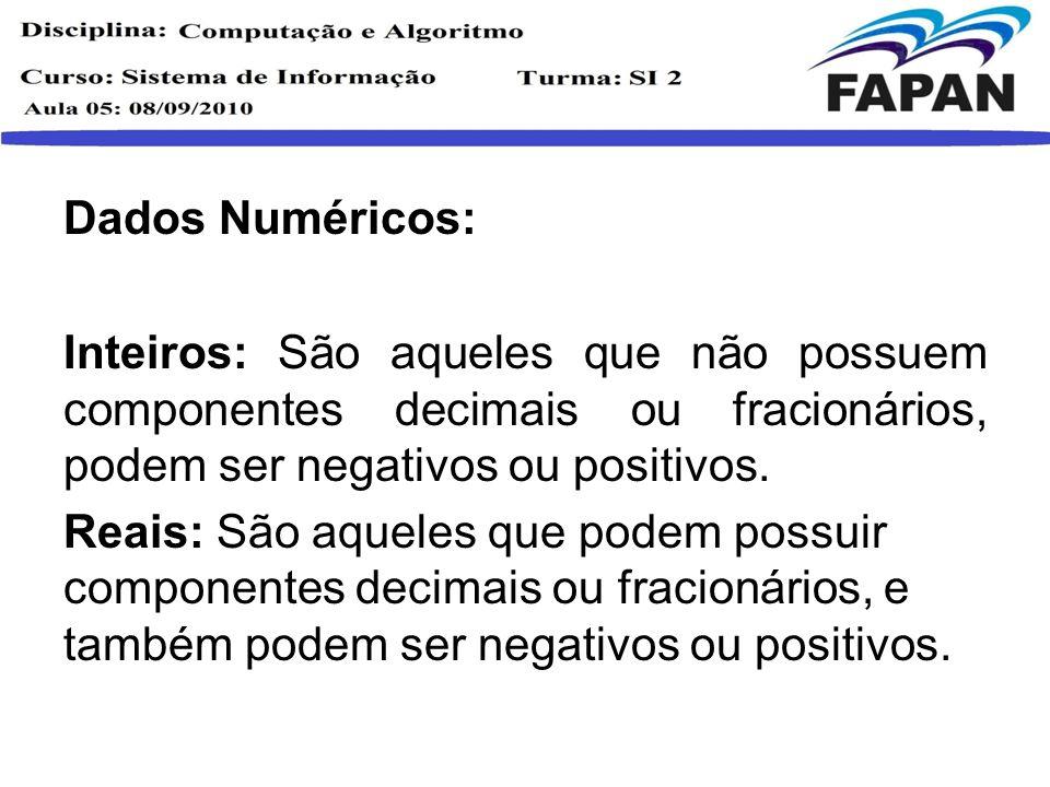 Dados Numéricos: Inteiros: São aqueles que não possuem componentes decimais ou fracionários, podem ser negativos ou positivos. Reais: São aqueles que