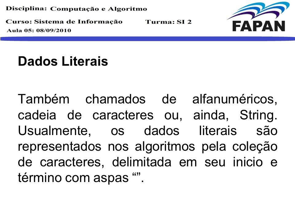 Dados Literais Também chamados de alfanuméricos, cadeia de caracteres ou, ainda, String. Usualmente, os dados literais são representados nos algoritmo