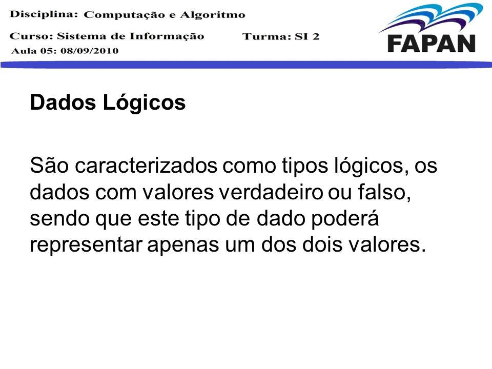 Dados Lógicos São caracterizados como tipos lógicos, os dados com valores verdadeiro ou falso, sendo que este tipo de dado poderá representar apenas u